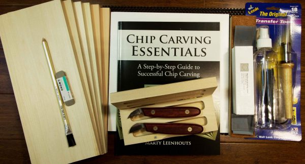chip carving kit with chip carving book chip carving boards, knives etc.