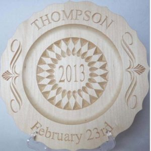 2013 wedding plate, scalloped rim plate