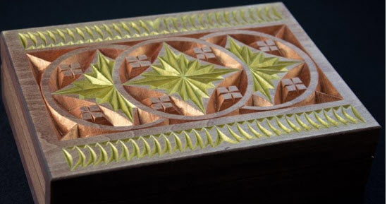 double card box repeating gothic pattern