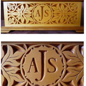 floral motif monogram box front panel