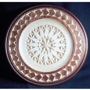 8 inch outside beaded rim plate with border and rosette
