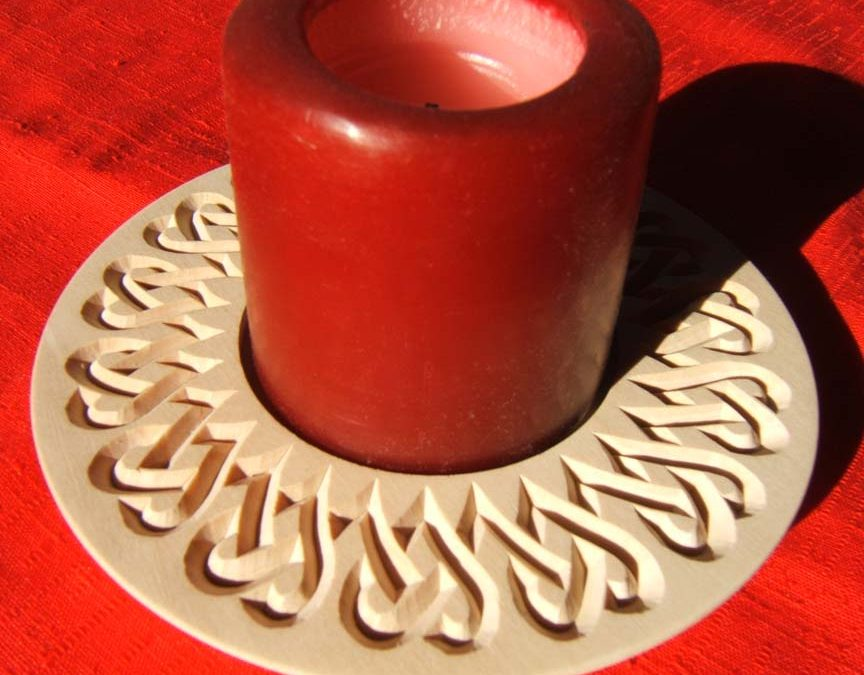 Candle Dish Plate, Heart Knot Pattern