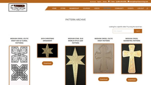 chip carving video pattern course membership resources
