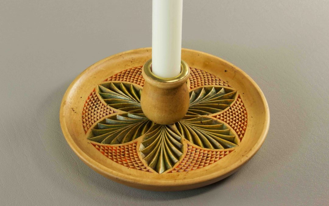Candle Plate, Fall pattern, antique finish